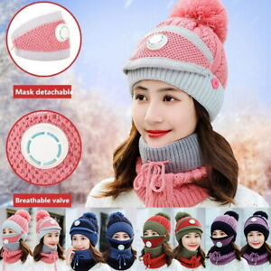 3-in-1-Women-039-s-Winter-Neck-Warm-Beanie-Hat-Knitted-Hat-with-Circle-Scarf-Cap-Set