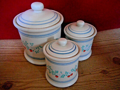 3 Ceramic Kitchen Canisters Canister Set Retro Strawberry Red Blue Ivory C3 Ebay