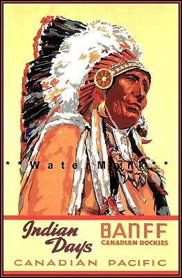 20x30 1920s Banff Indian Days Classic Native American Festival Travel Poster