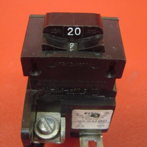 20 Amp Pushmatic ITE Siemens Gould P120 1 Pole 20A 120V HACR Rated Breaker