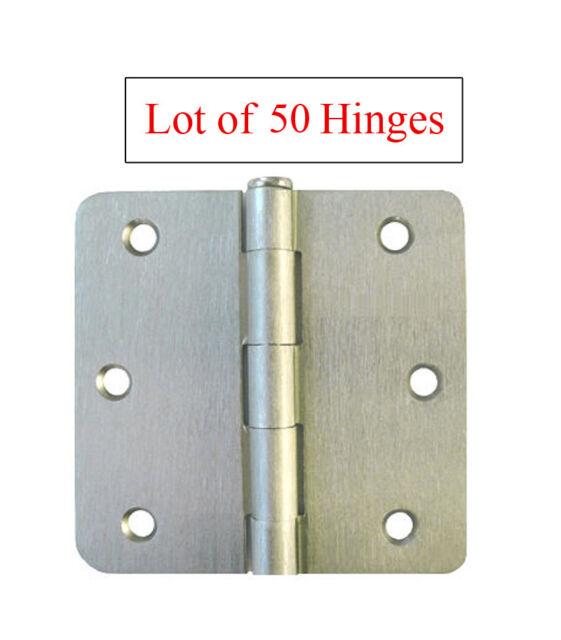 Dynasty Hardware 3-1//2 Door Hinges 1//4 Radius Corner Satin Nickel 12 Pack