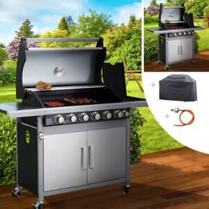 Gasgrill Edelstahl Barbecue Grill Grillwagen BBQ Brenner Seitenkocher 6in1 BRAST