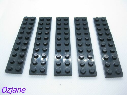 LEGO PART 3832 BLACK PLATE 2 X 10 FOR 5 PIECES