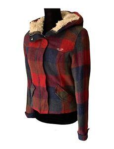 Hollister Jacket Hollister Plaid Wool Sherpa Hooded Parka Jacket Juniors Small