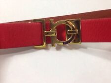 SALVATORE FERRAGAMO ADJUSTABLE RED LEATHER GOLD TONE BUCKLE BELT SMALL