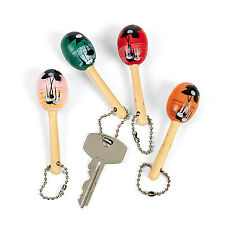 12 Mini Maraca KEYCHAINS Cinco De Mayo Mexican Spanish LUAU Party Favors Decor