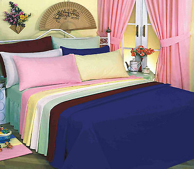 PLAIN DYED 50:POLY COTTON FITTED BED COVER SHEET 10 COLOURS