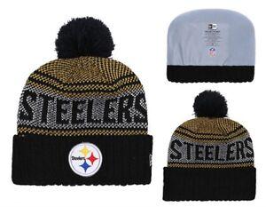 b6adcb91aae 2018 Pittsburgh Steelers New Era Knit Hat On Field Sideline Beanie ...