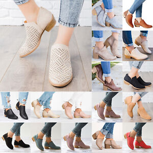 Women-Summer-Casual-Ankle-Boots-Block-Low-Mid-Heels-Stacked-Chunky-Booties-Shoes