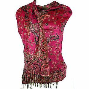 Jacquard-Paisley-Pashmina-Shawl-Scarf-Stole-Double-Sided-Fusia-Pink