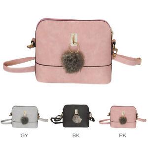 Women-Leather-Fur-Fluffy-Pom-Pom-Ball-Shoulder-Crossbody-Bag-Messenger-Handbag