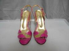 "L.A. Lady pink & clear high heel open toes 3"" heels sandals women's size 8M"
