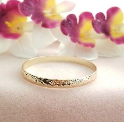 8mm Gold Hawaiian heirloom Bangle Bracelet Size 7