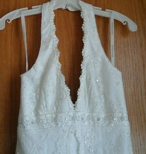 Davids-Bridal-Wedding-Halter-A-line-Dress-Ivory-with-lace-and-beads-Size-4P