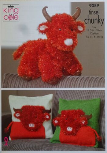 KNITTING PATTERN Highland Cow Soft Toy and Cushion//Pillow Tinsel King Cole 9089