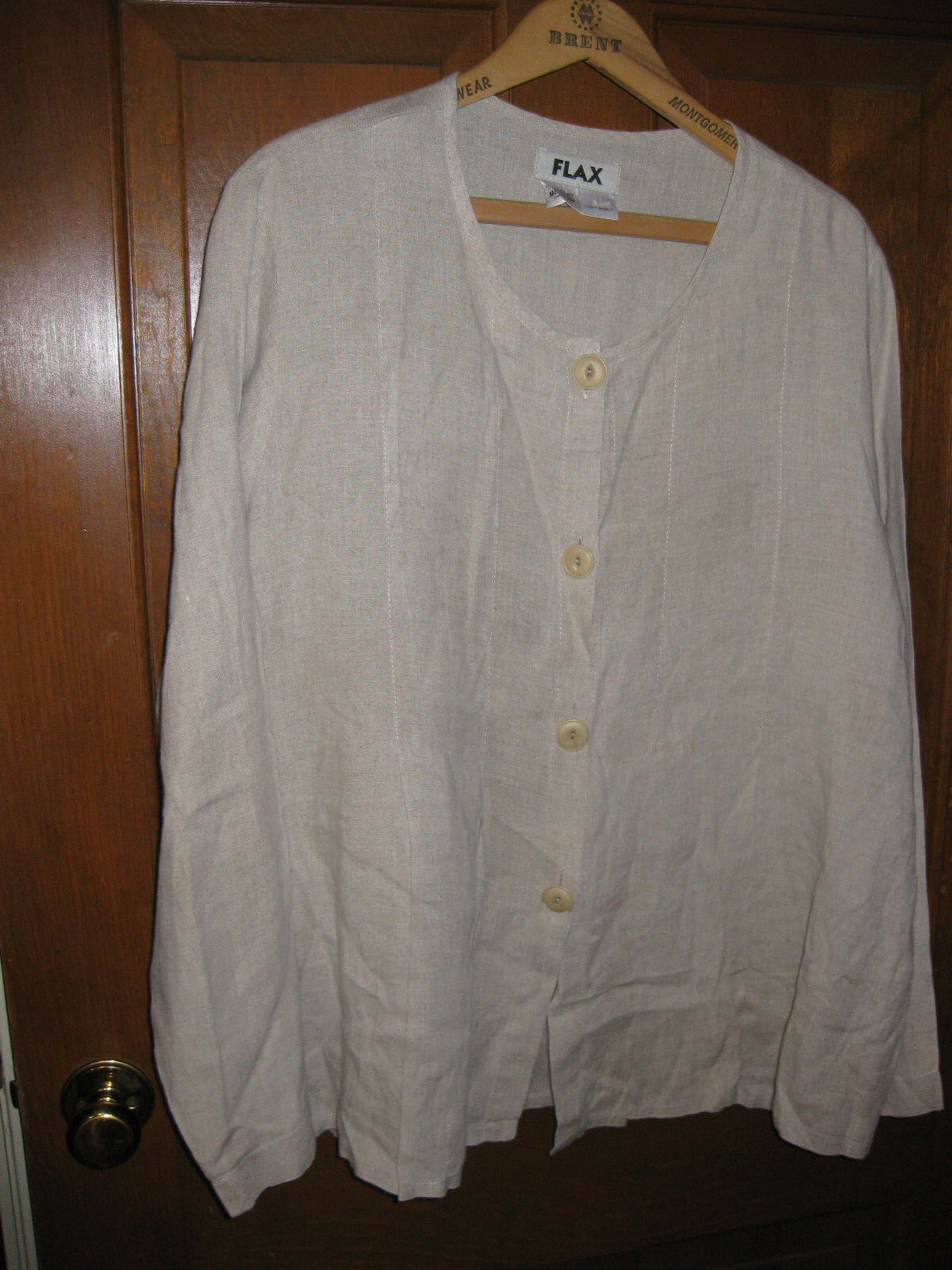 Flax Sz Medium 100% Linen Oatmeal Long sleeve Blazer NWOT