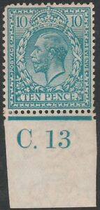 1913-ROYAL-CYPHER-SG394-10d-TURQUOISE-BLUE-CONTROL-C-13-MINT-HINGED