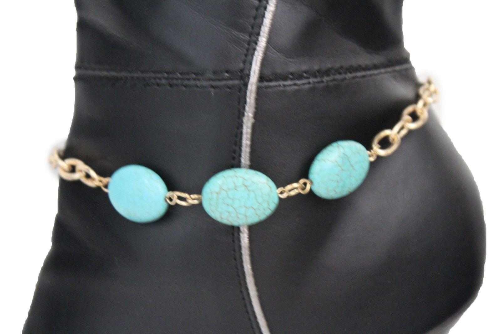 Women Boot Bracelet Antique Gold Metal Chains Bling Anklet Shoe Charm Blue Beads