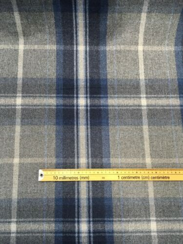 Designer Wool Effect Brushed Polyester Furnishing Fabric Blue//Grey Check