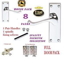 Pacchetto completo di porta: 8 X moderno Maniglie Cromo/Argento Scorrere Maniglie a Leva