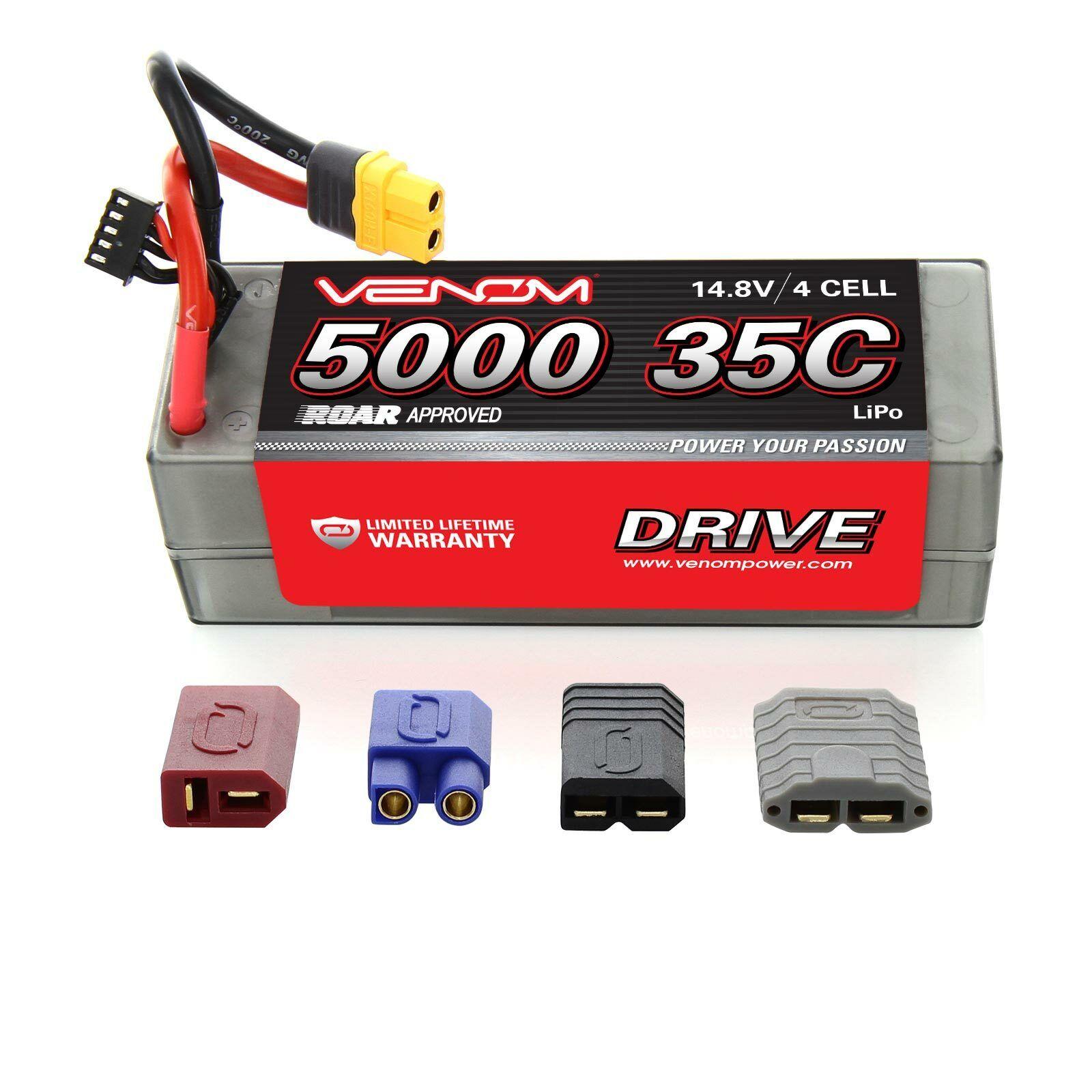 Venom 35C 4S 5000mAh 14.8V Hard Case RC LiPo Battery ROAR Approved with UNI Plug