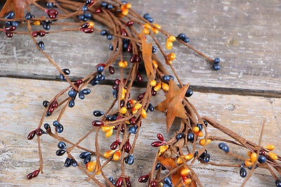 Pip Berry Garland 60 inch Primitive Burgundy Gold Rusty Stars Country Decor