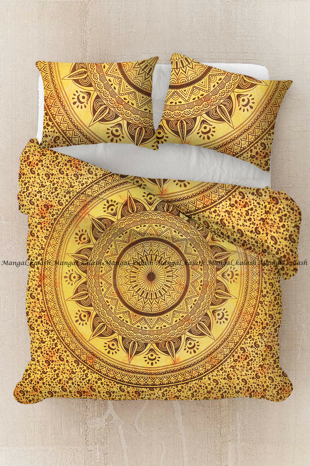 Indian yellow flower cotton mandala duvet quilts cover bedding comforter covers