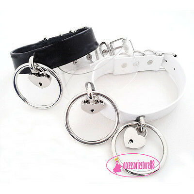 Kawaii Handmade Clear Ring Leather Choker Safe Heart Lock Key Collar Necklace