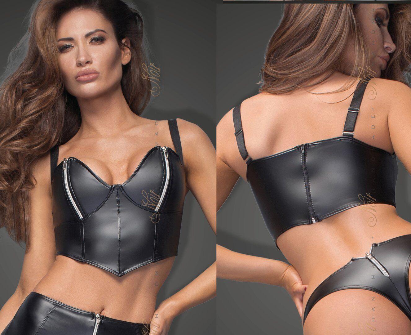 schwarz HANDMADE POWERWETLOOK TOP bustier gogo clubwear schwarz wetlook lack