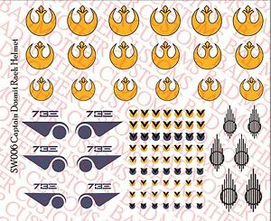 1//6 Scale Decals Waterslide Decals Star Wars Rebel Pilot custom Helmet Set