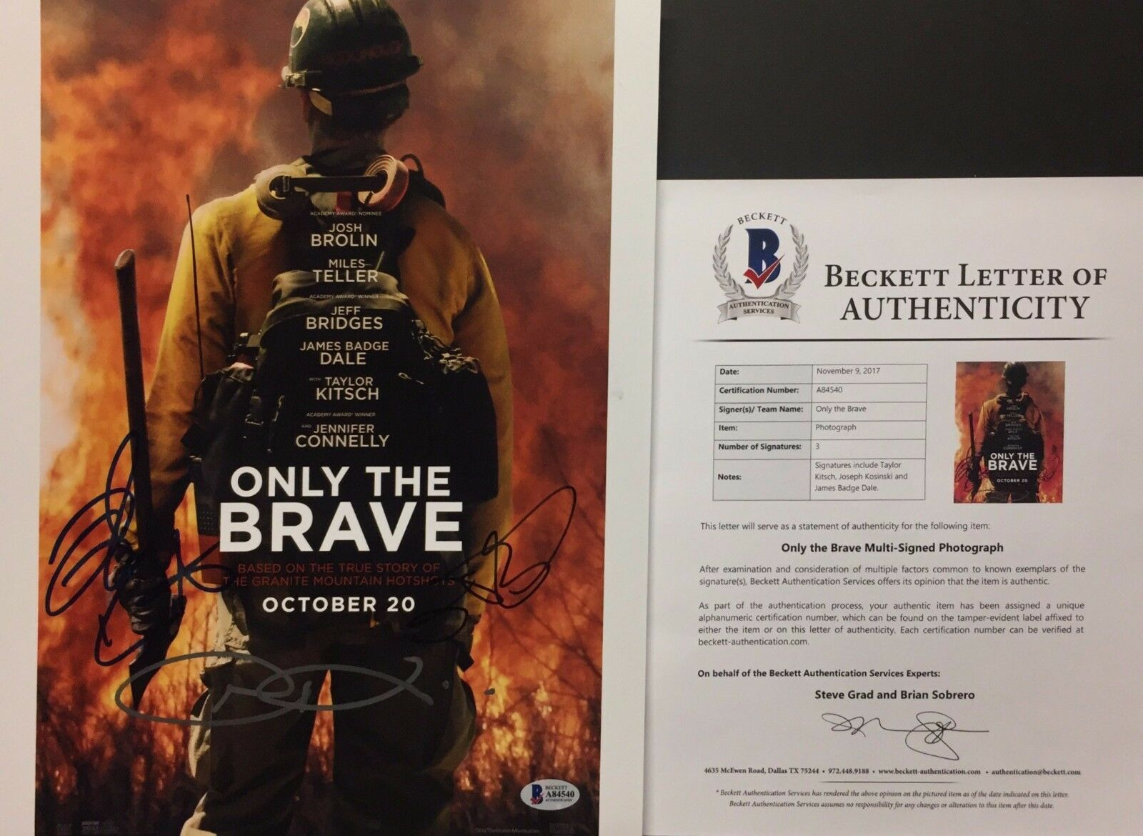 Taylor Kitsch Joseph Kosinski J Badge Dale Signed Only The Brave 11x14 Photo BAS