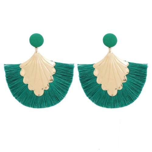 Fashion EARRINGS SILKY FRINGE DANGLE TASSLE VINTAGE RETRO TASSEL BOHO GOLD