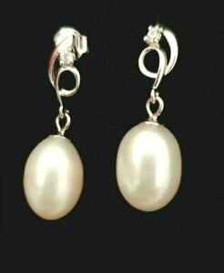 Sterling Silver 925 Freshwater Pearl Simulated Diamond Dangle Stud Earrings