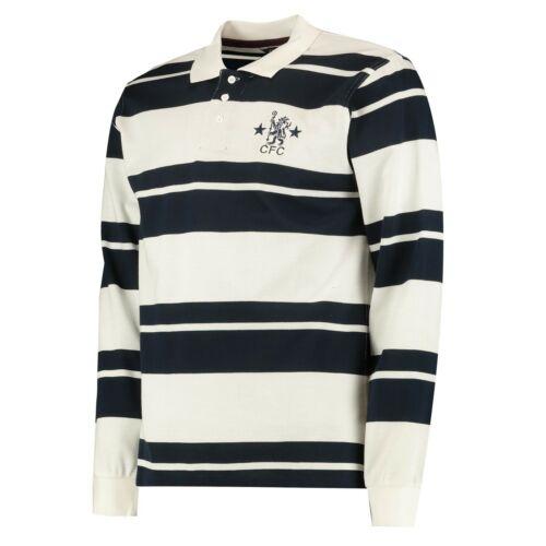 Chelsea FC Men/'s Retro Long Sleeve Stripe Polo Navy//White New