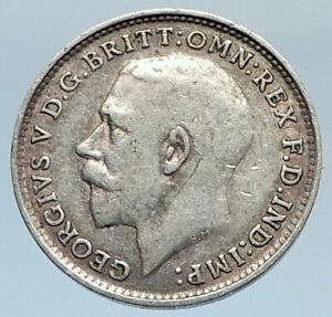 1919-UK-Great-Britain-United-Kingdom-KING-GEORGE-V-Silver-Threepence-Coin-i74324