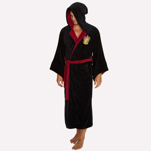 One Size Details about  /Harry Potter ALL HOUSES Adult Fleece Hooded Bathrobe