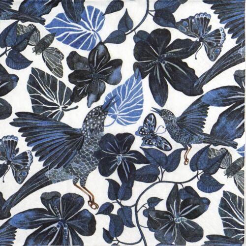 4x Paper Napkins for Decoupage Decopatch Craft Jungle Dance Blue