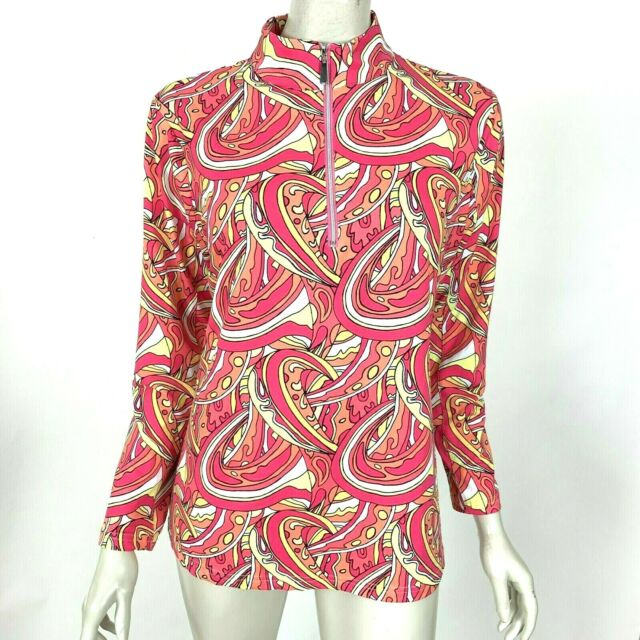 Lulu-B Paisley Top Long Sleeve Pink Stretch Nylon High Neck 1/4 Zip Women Medium