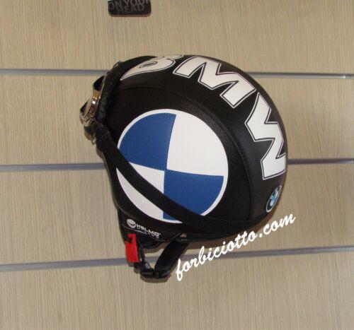 Casco In Pelle Vintage Personalizzato scritta e logo BMW Tutti Colori e Taglie