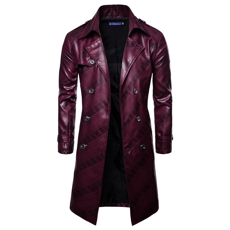 Men Casual Double Breasted Faux Leather Trench Coat Long Sleeve Lapel Slim Fit