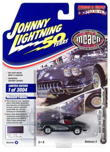 Johnny Lightning JLMC021 Muscle Car VER A 1958 Chevy Corvette Convertible