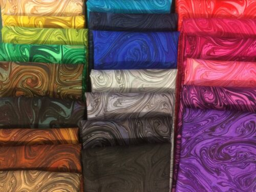 Swirls 100/% cotton Fabric FQ//Metre 25 colour options Michael Miller MARBLES