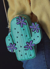 Cute Green Cactus With Purple Flowers Cross Body Bag Summer Holiday Festival