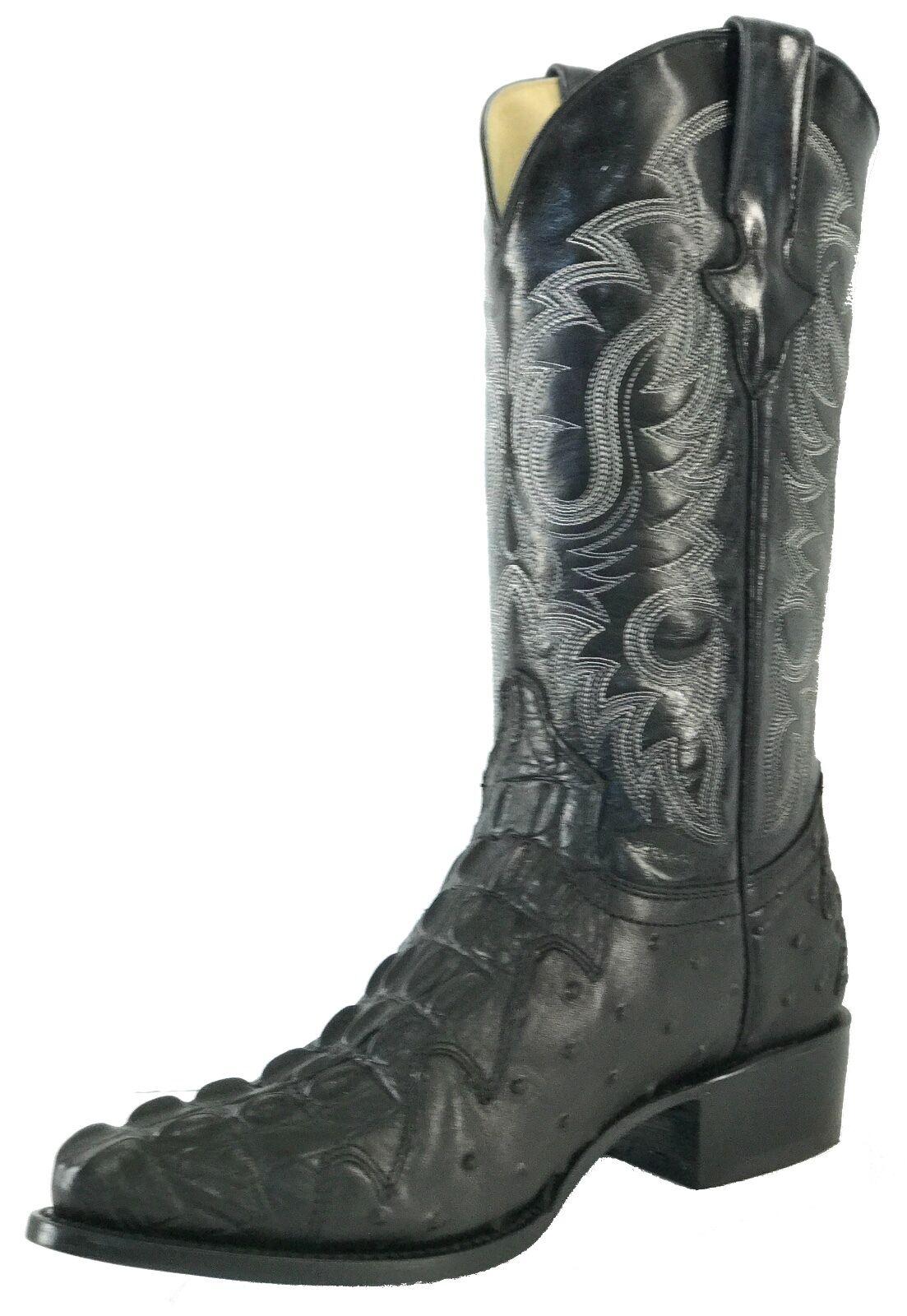 Men's Leather Crocodile Ostrich Design Rodeo Western Cowboy Boots J Toe Black