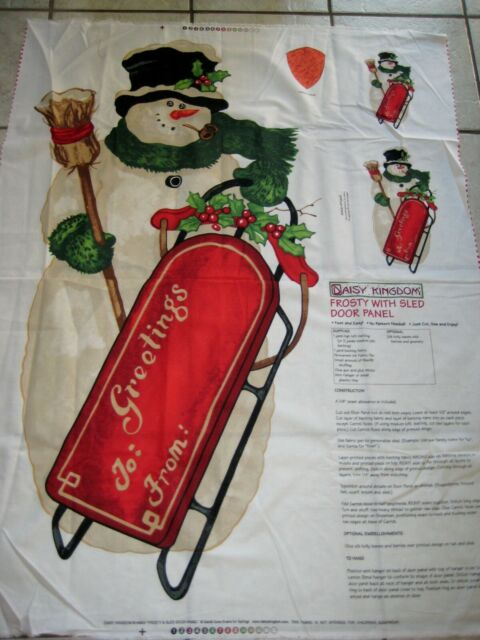 Daisy Kingdom Frosty with sled door panel fabric Christmas snowman