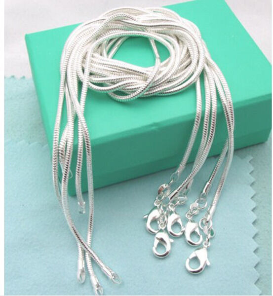 Xmas!Wholesale 925Sterling Silver 5Pcs 1.2mm Snake Chains&Necklaces 16-30inch