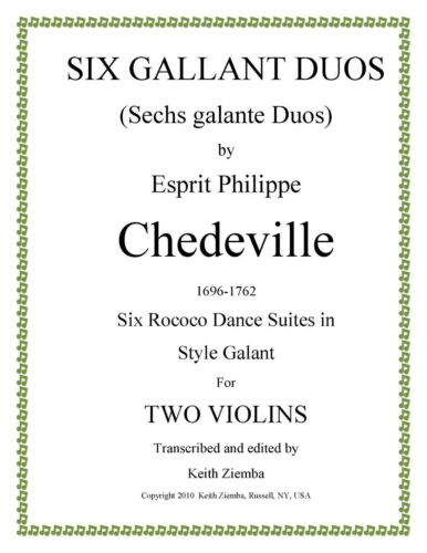 NEW 6 suites of dances Violin Duets 6 Gallant Duos by Chedeville