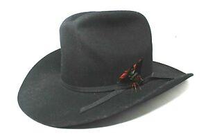 d1df0d0d9 Details about Sheplers Bunk House feather Wool Dyna Felt Deluxe Fur Black  Cowboy Hat 7 1/4