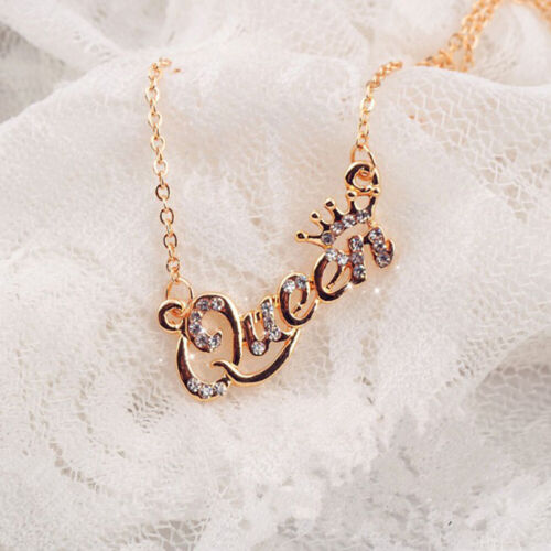 Luxury Gold-Color Crown Necklace Zircon Crystal Necklace Women Fashion Jewelry