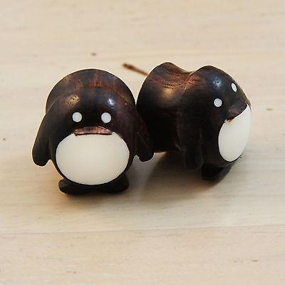 Organic Handmade Carved Ebony Wood Cute Penguin w/ Resin Ear Plugs Gauges New US